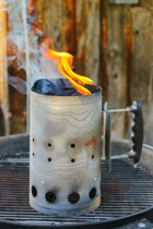 Photograph of a charcoal chimney starter to illustrate barbecue fire safety while.
