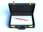 Open briefcase with a file stamped confidential inside