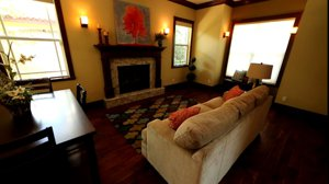 The warm family room with fireplace at Loma Linda - West of Trail in Sarasota, FL