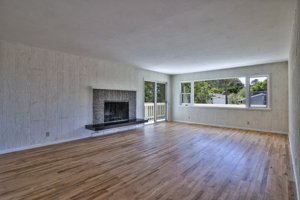 Hardwood floors in the living area