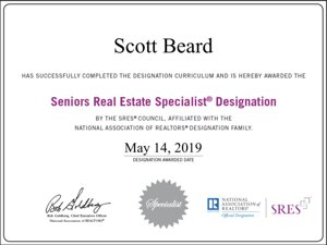 Scott Beard SRES Certificate