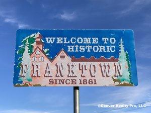Welcome sign Franktown Colorado
