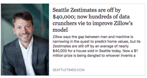 Seattle Times reports on the inaccuracy of Zillow, their data and the Zestimate.