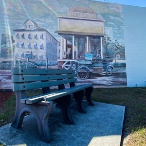 Bench and Wall Art in Downtown Saint Cloud Florida