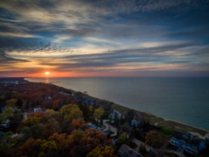 Autumn Sunset over New Buffalo and Lake Michigan
