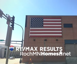 Large US Flag on Post Bulletin Building Downtown Rochester MN -- ROCHMNHOMES.net