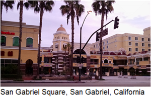 San Gabriel Square, popular outdoor shopping center in San Gabriel, California