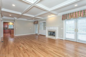 Leland Home for Sale Grandiflora Large Living Room Coffered Ceiling Fireplace French Doors