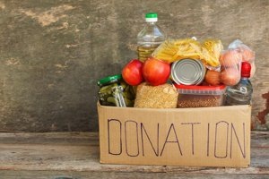 donation box filed with food items