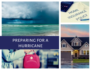 photo collage with a storm, a house, first aid bag, & a home insurance policy title Preparing for a Hurricane