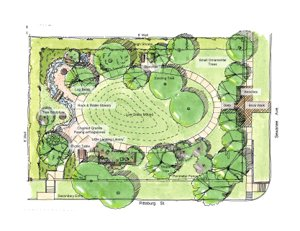 Concept Sketch, Jennie E Hughes Park, West University Place, TX