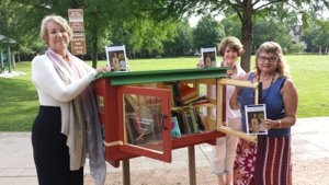 Jeannie Lyman, Sara Eggleston & Michelle Smith donate books