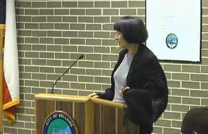 Vicki Chu, Broker Associate, Roger Martin Properties, addresses Bellaire City Council