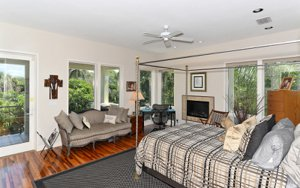 The master suite offer views, privacy, and relaxation