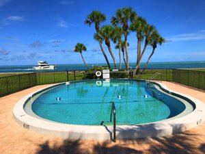 The Sea Village Pool overlooking the Gulf of Mexico on Siesta Key, FL