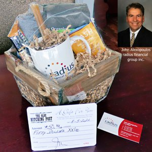 awesome gift basket full of Radius branded swag from John Alexopoulos of radius financial group.