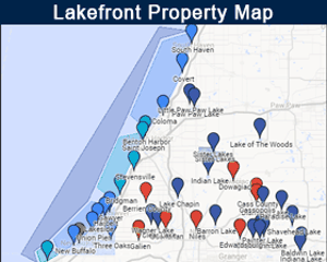 Map of lakes in Southwest Michigan