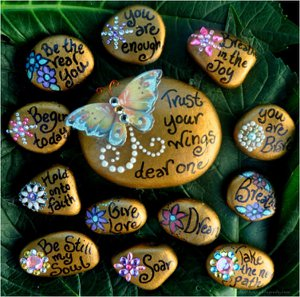 Painted rocks with a beautiful butterfly theme