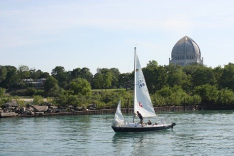 Wilmette harbor with sailboat and Bahai' Temple