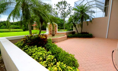 The paver brick patio at Mara Villa