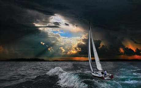 Weathering a storm in rough seas or calm
