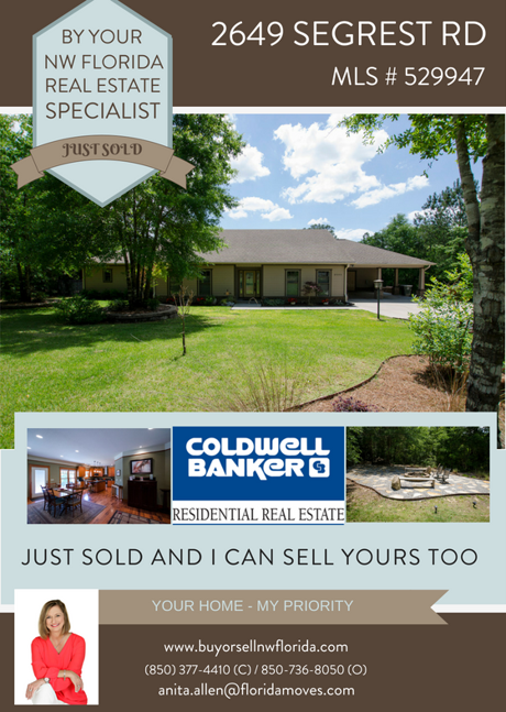 2649 Segrest Rd Pace FL  32671 SOLD BY ANITA ALLEN