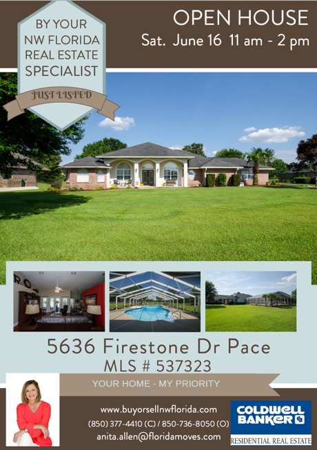 Open House 5636 Firestone Drive Pace FL 32571