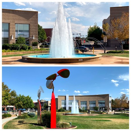 Downtown Englewood CO Fountain and Art