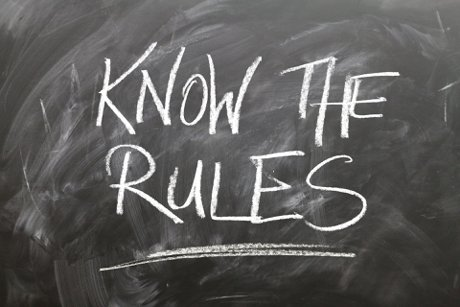 """Photograph of chalkboard with the word """"know the rules"""" written on it to illustrate, """"5 Rules For Successful Home Buying"""""""