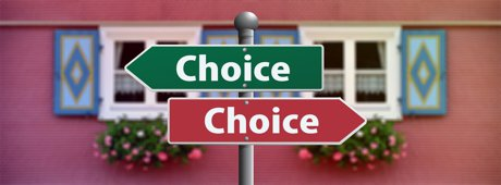 """Photograph of a signs with the word 'choice' on each to illustrate, """"5 Ways Investing In Real Estate Is Like Finding A Spouse""""."""