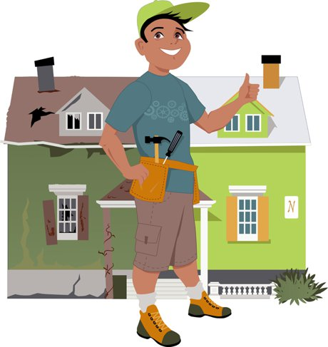 """Image of a man giving a thumbs up in front of a before and after image of a renovated house to illustrate, """"Using Rehab, Refinancing, And Cash-Out For Long-Term Wealth Building""""."""