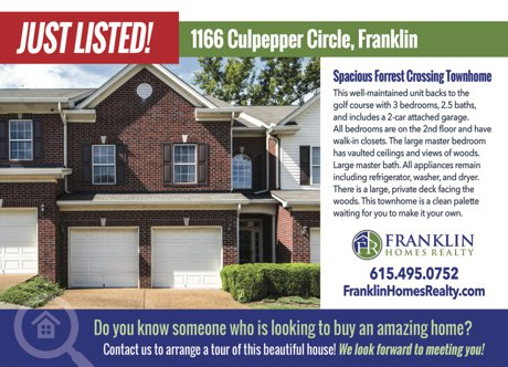 Forrest Crossing | Franklin TN Homes | Selling Forrest Crossing