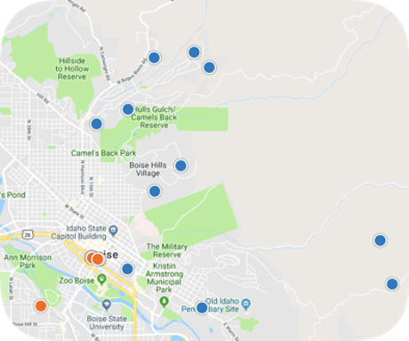 Northeast Boise home search by map