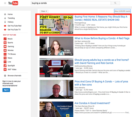 Buying A Condo #1 Ranking On Youtube - Screenshot of Darin Persinger, Real Estate Expert #1 Rankining