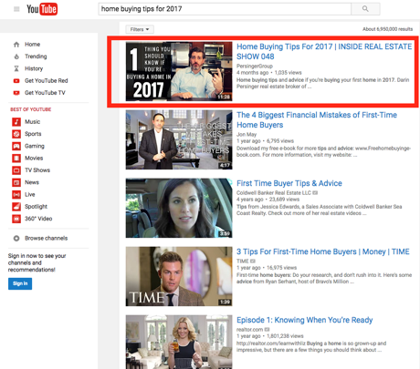 Home Buying Tips #1 Ranking On Youtube - Screenshot of Darin Persinger, Real Estate Expert #1 Rankining
