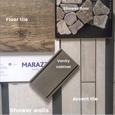 Master bathroom remodel design board| Real estate and lifestyle in Northern Colorado, by Joanna Gyrath, Fort Collins Realtor