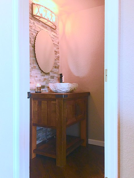 A Rustic Powder Room Makeover in our Fort Collins home