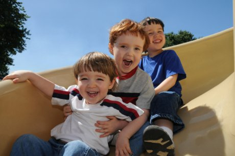 Boys on a slide