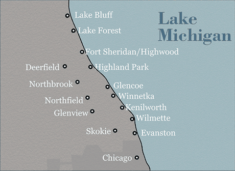map of North Shore Chicago