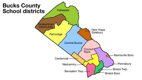 Map of Bucks County School Districts