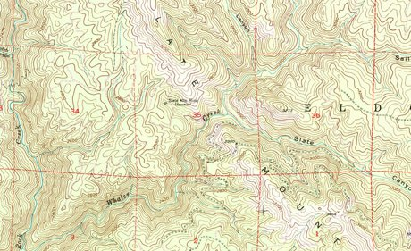 TOPO MAP OF ROAD FROM AIRPORT TO SLATE MOUNTAIN MINE ROAD #12N83
