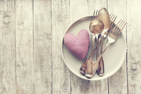 small plate with vintage silverware and red & white checkered heart