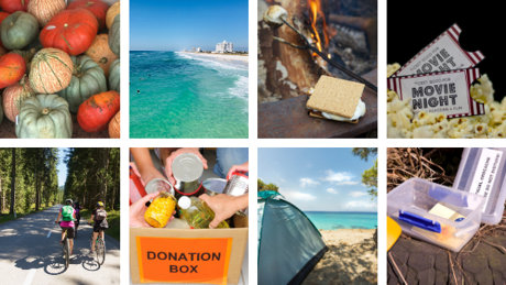 photo collage with pumpkins, movie tickets, bike riders, donation box, the beach, smores, a tent on the beach, & storage box