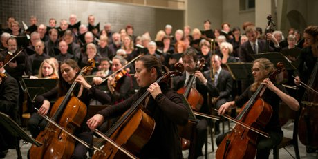 Classical orchestra in rehearsal or performance.