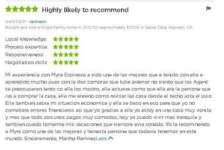 Seller, buyer testimonial review