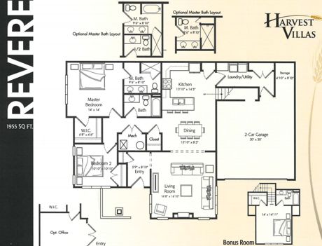 Harvest Villas Revere floor plan