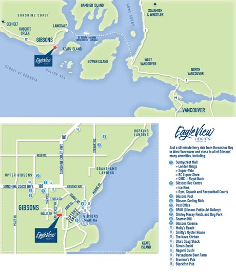 Amenities Map of Gibsons BC Eagle View Heights