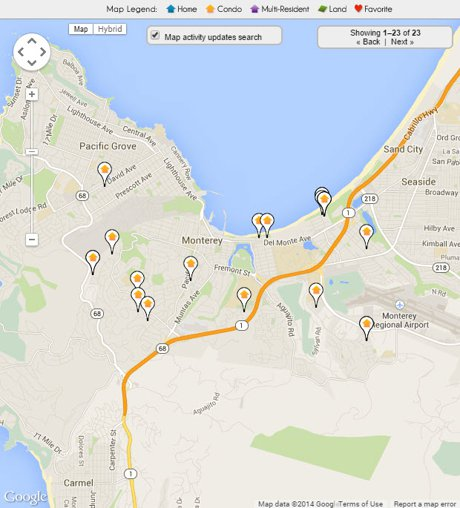 Monterey Condos for sale map
