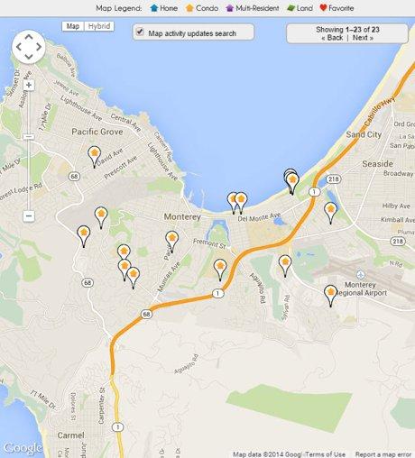 Monterey Condos for sale map