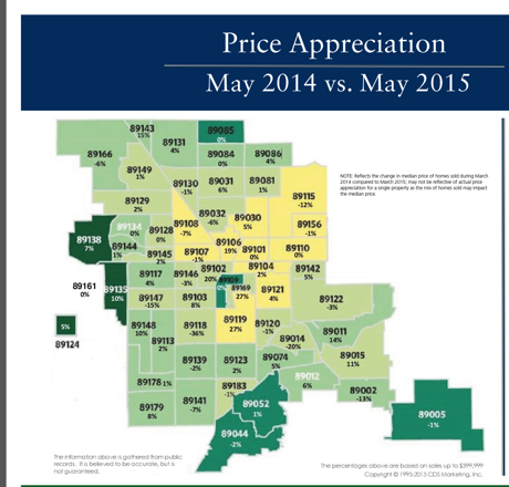 May 2015 Price Appreciation Map for Las Vegas & Henderson NV